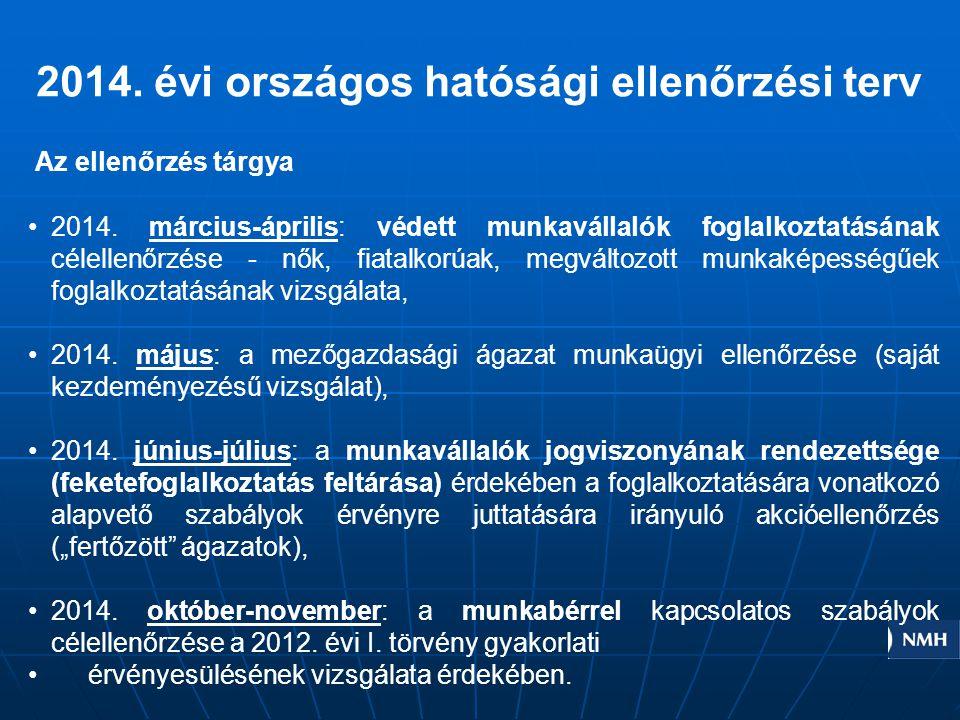2014. évi országos hatósági ellenőrzési terv