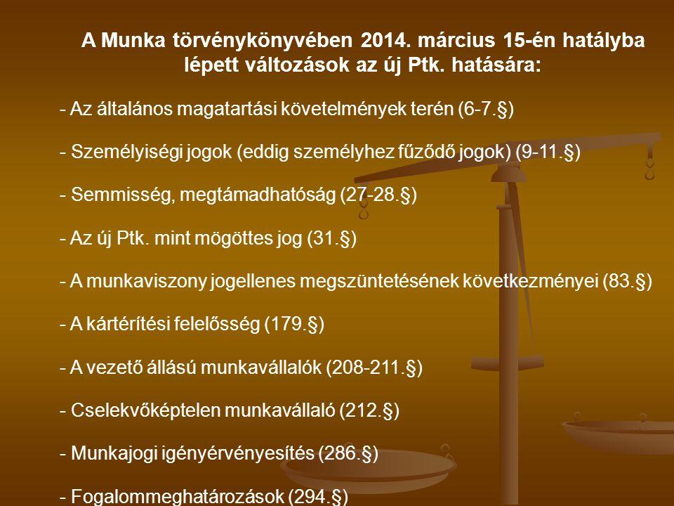 A Munka törvénykönyvében 2014