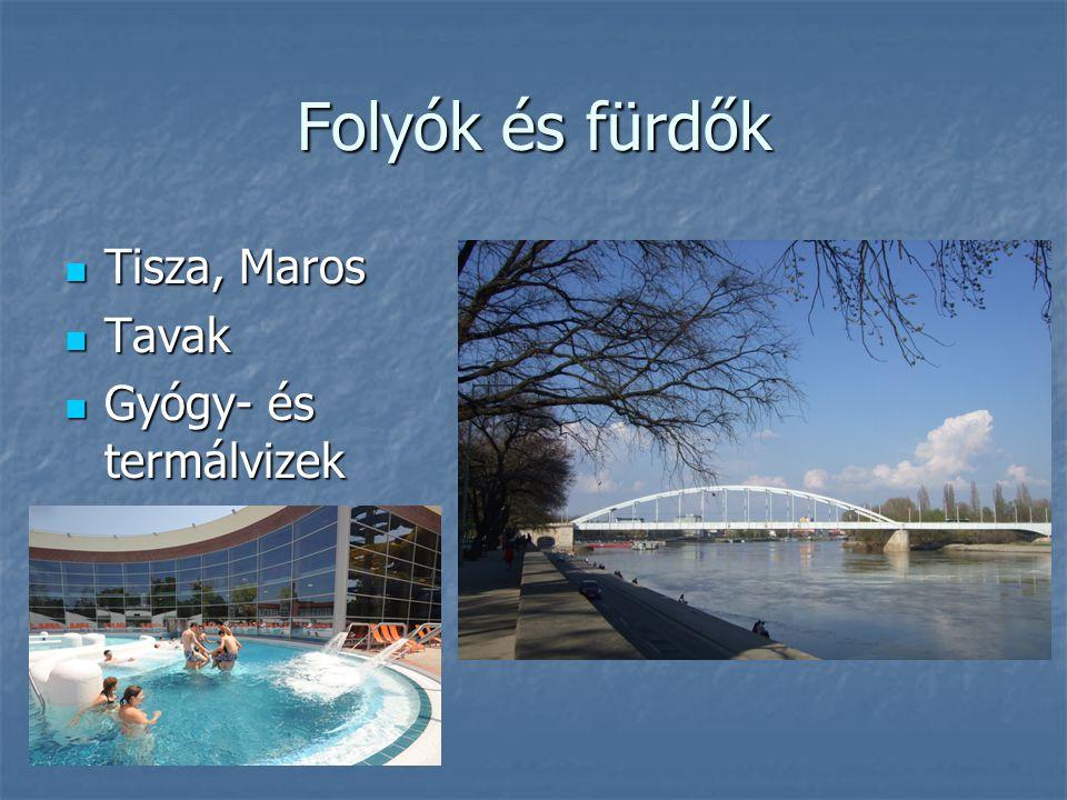 Folyók és fürdők Tisza, Maros Tavak Gyógy- és termálvizek