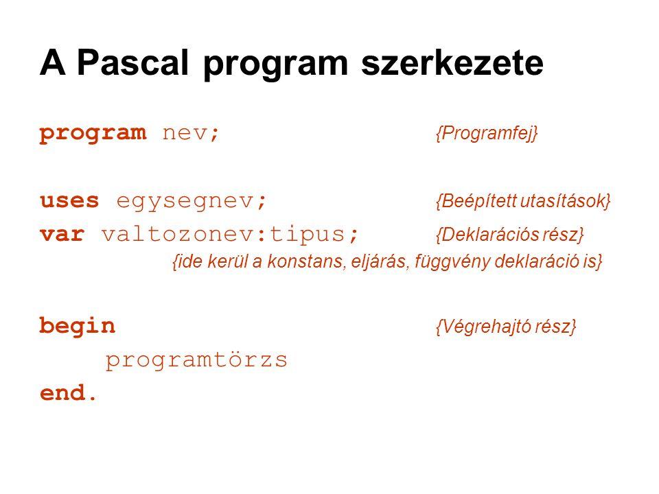 A Pascal program szerkezete