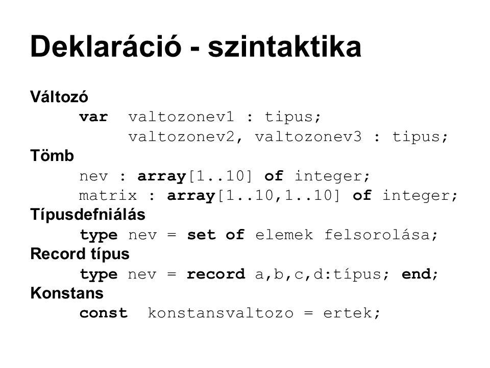 Deklaráció - szintaktika