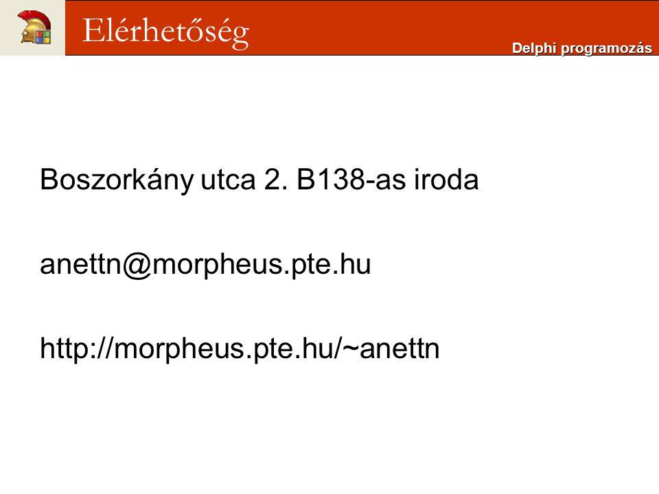 Elérhetőség Boszorkány utca 2. B138-as iroda anettn@morpheus.pte.hu