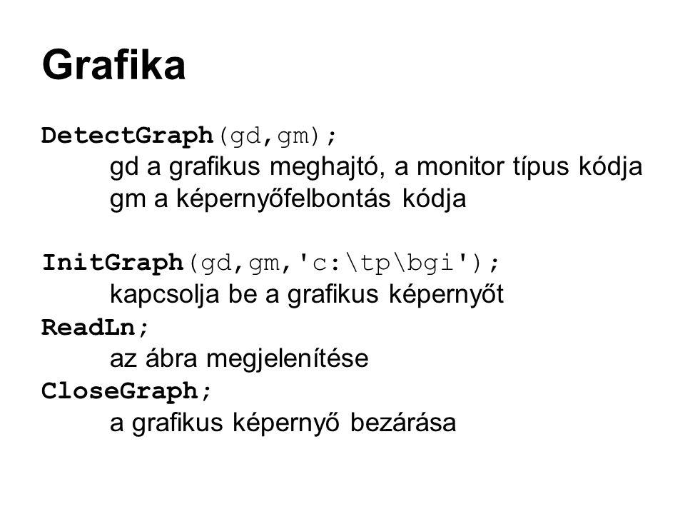 Grafika DetectGraph(gd,gm);