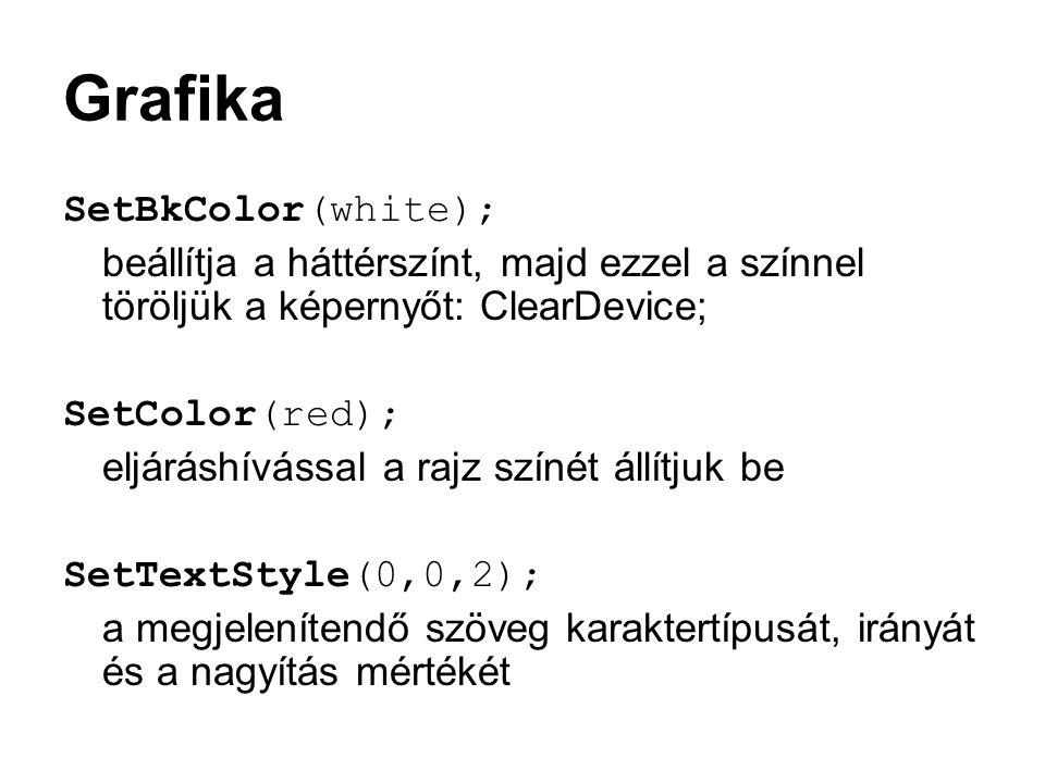 Grafika SetBkColor(white);