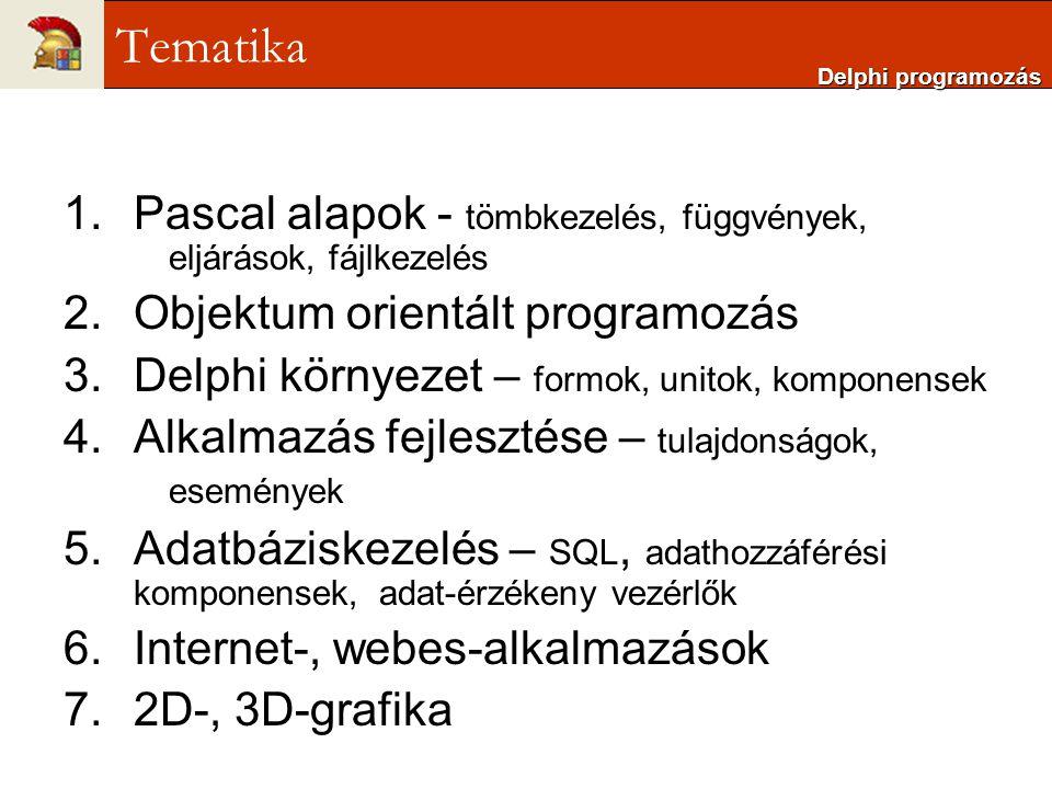 Delphi programozás Tematika. Pascal alapok - tömbkezelés, függvények, eljárások, fájlkezelés. Objektum orientált programozás.