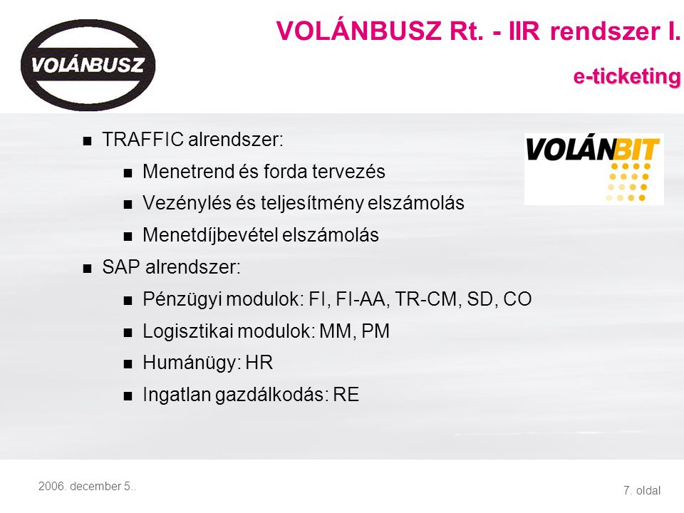 VOLÁNBUSZ Rt. - IIR rendszer II. e-ticketing