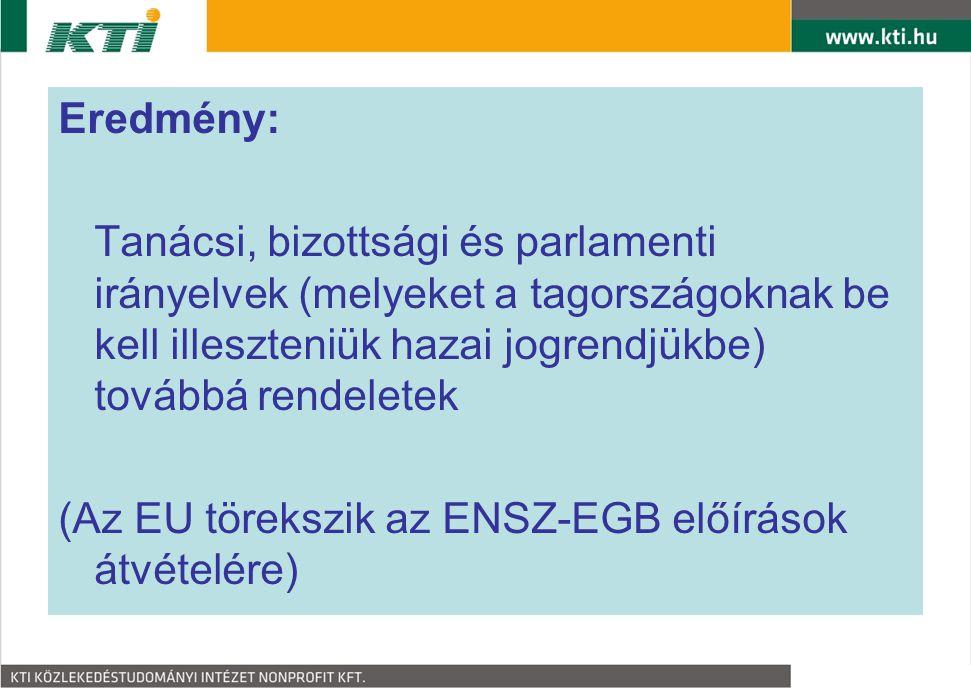 Eredmény: Tanácsi, bizottsági és parlamenti irányelvek (melyeket a tagországoknak be kell illeszteniük hazai jogrendjükbe) továbbá rendeletek.