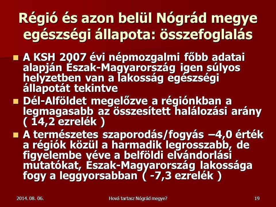 Régió és azon belül Nógrád megye egészségi állapota: összefoglalás