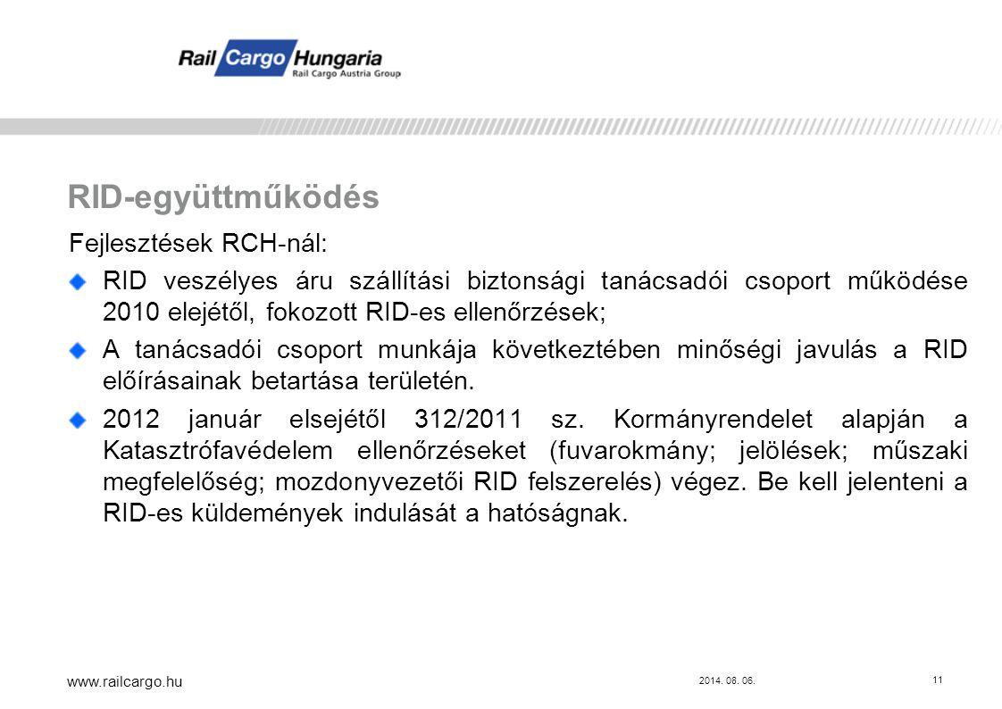 RID-együttműködés Fejlesztések RCH-nál:
