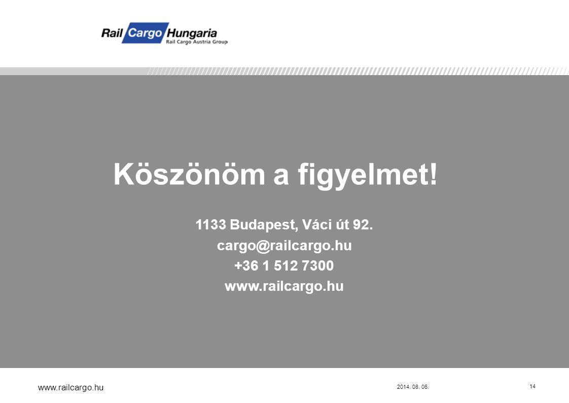 Köszönöm a figyelmet! 1133 Budapest, Váci út 92. cargo@railcargo.hu