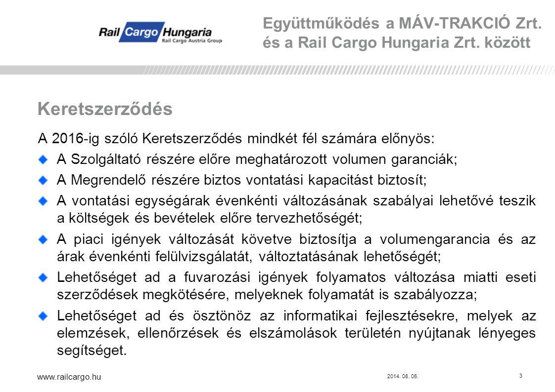 Együttműködés a MÁV-TRAKCIÓ Zrt. és a Rail Cargo Hungaria Zrt. között