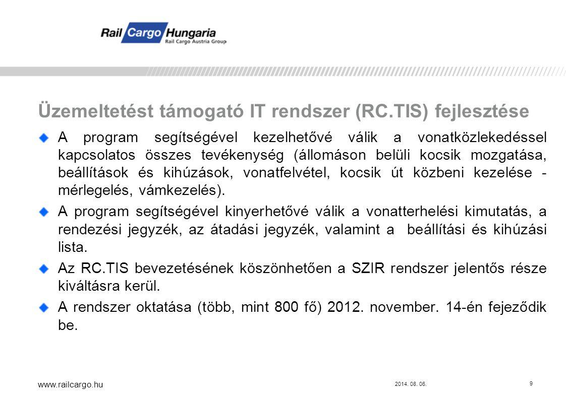 Üzemeltetést támogató IT rendszer (RC.TIS) fejlesztése