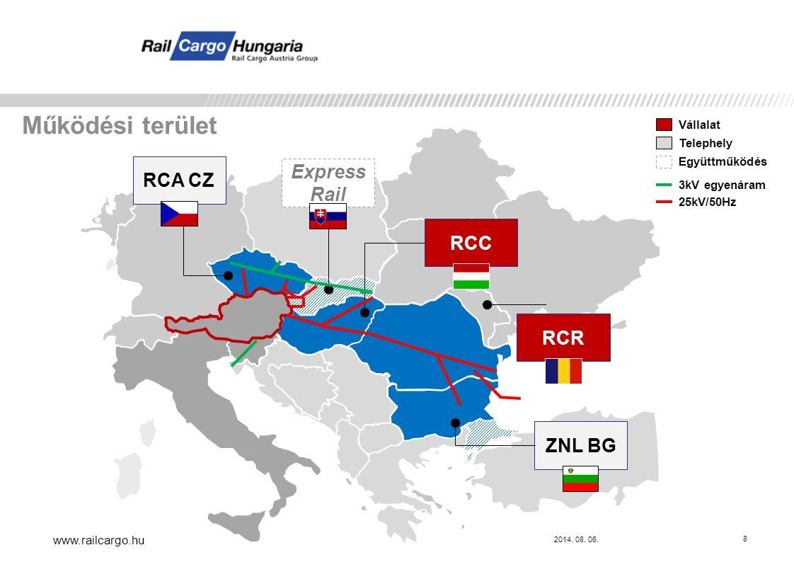 Működési terület Express Rail RCA CZ RCC RCR ZNL BG Vállalat Telephely