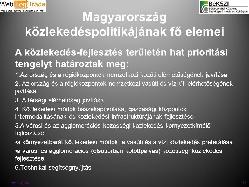 Magyarország közlekedéspolitikájának fő elemei