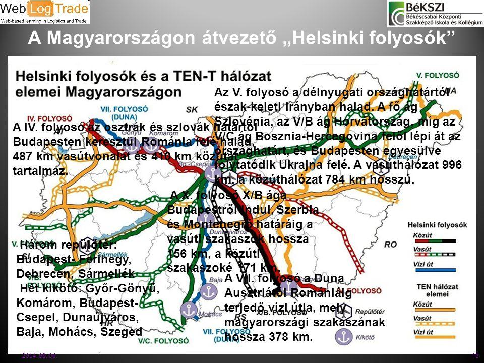 """A Magyarországon átvezető """"Helsinki folyosók"""