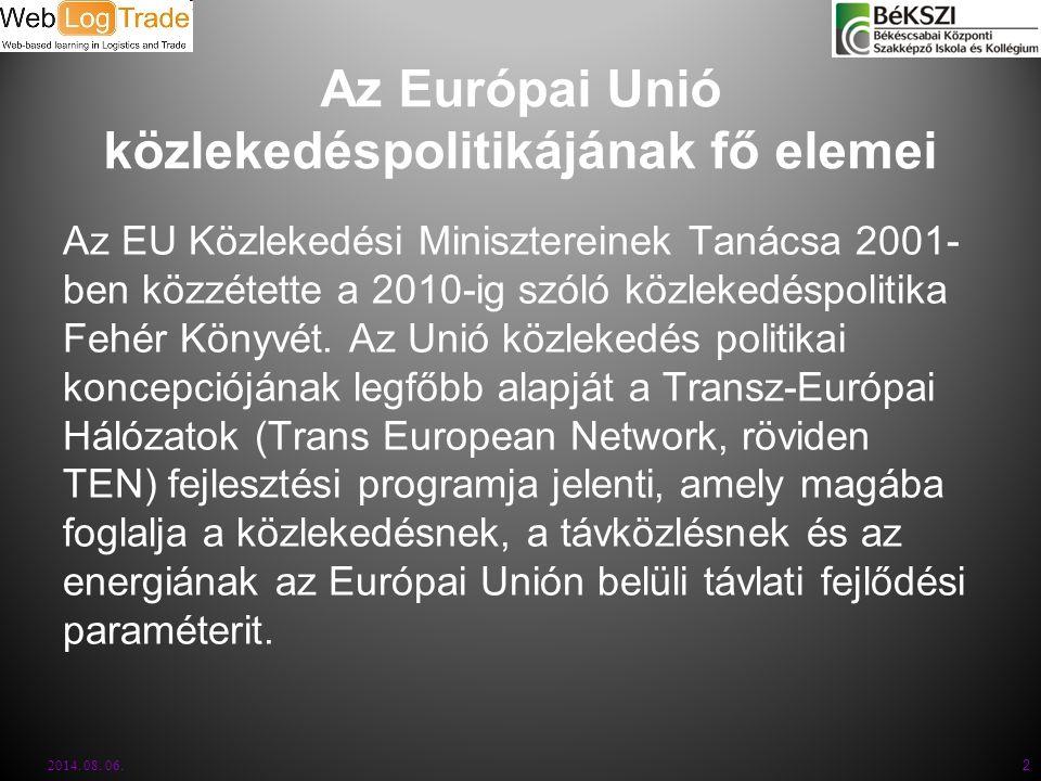 Az Európai Unió közlekedéspolitikájának fő elemei