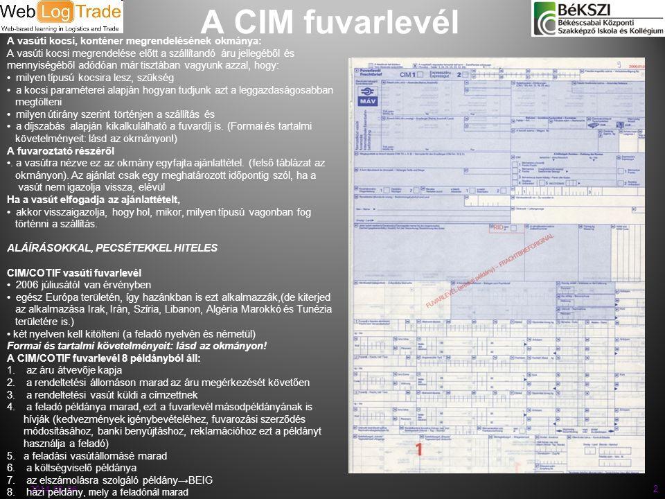 A CIM fuvarlevél A vasúti kocsi, konténer megrendelésének okmánya: