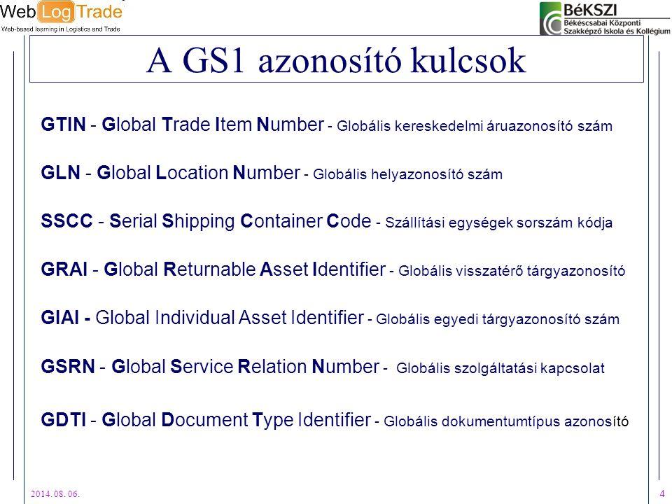 A GS1 azonosító kulcsok GTIN - Global Trade Item Number - Globális kereskedelmi áruazonosító szám.