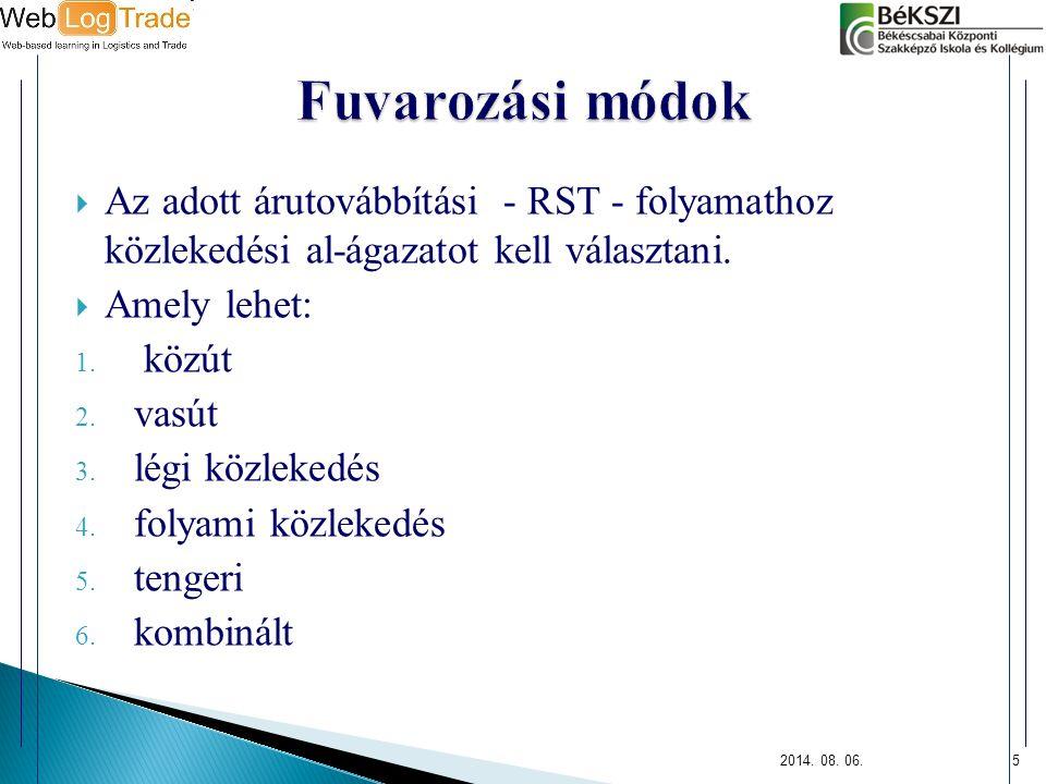 Fuvarozási módok Az adott árutovábbítási - RST - folyamathoz közlekedési al-ágazatot kell választani.