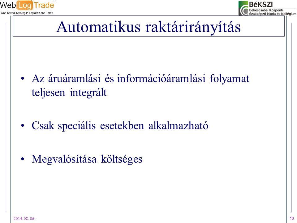 Automatikus raktárirányítás