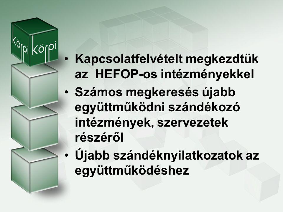 Kapcsolatfelvételt megkezdtük az HEFOP-os intézményekkel
