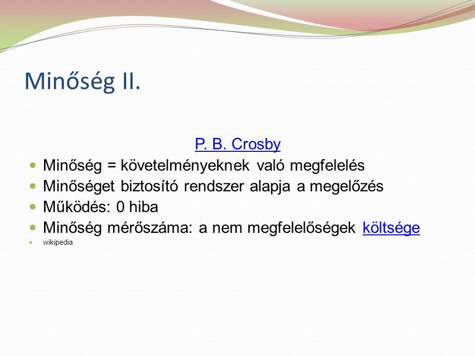 Minőség II. P. B. Crosby Minőség = követelményeknek való megfelelés