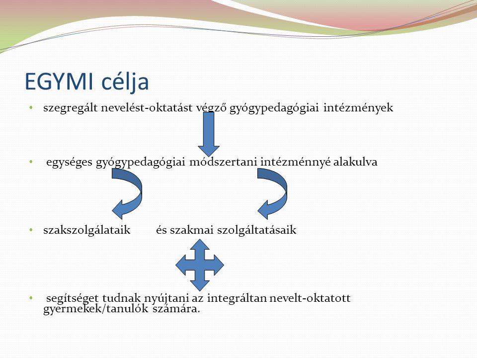 EGYMI célja szegregált nevelést-oktatást végző gyógypedagógiai intézmények. egységes gyógypedagógiai módszertani intézménnyé alakulva.