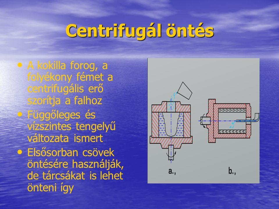 Centrifugál öntés A kokilla forog, a folyékony fémet a centrifugális erő szorítja a falhoz. Függőleges és vízszintes tengelyű változata ismert.