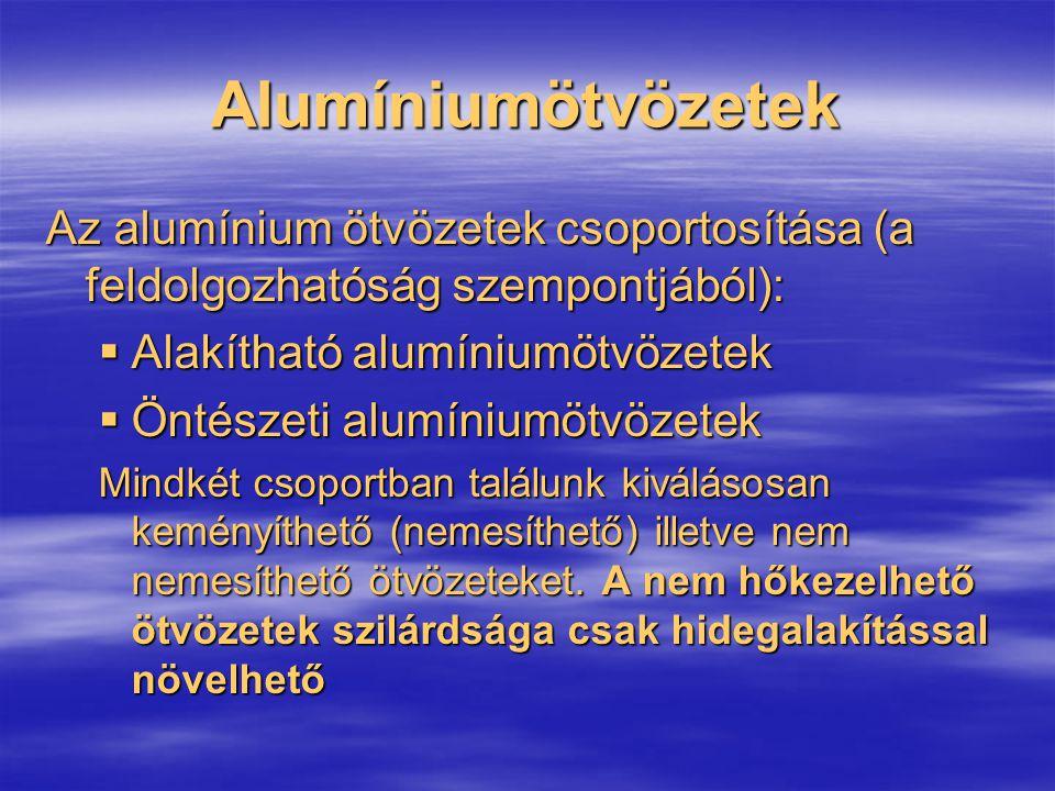 Alumíniumötvözetek Az alumínium ötvözetek csoportosítása (a feldolgozhatóság szempontjából): Alakítható alumíniumötvözetek.