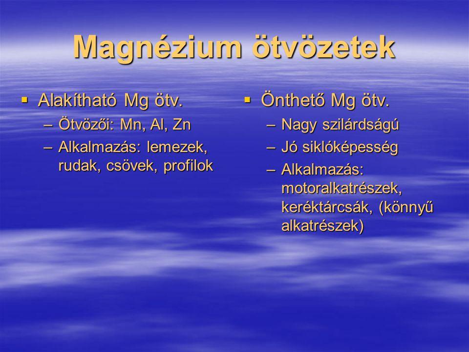 Magnézium ötvözetek Alakítható Mg ötv. Önthető Mg ötv.
