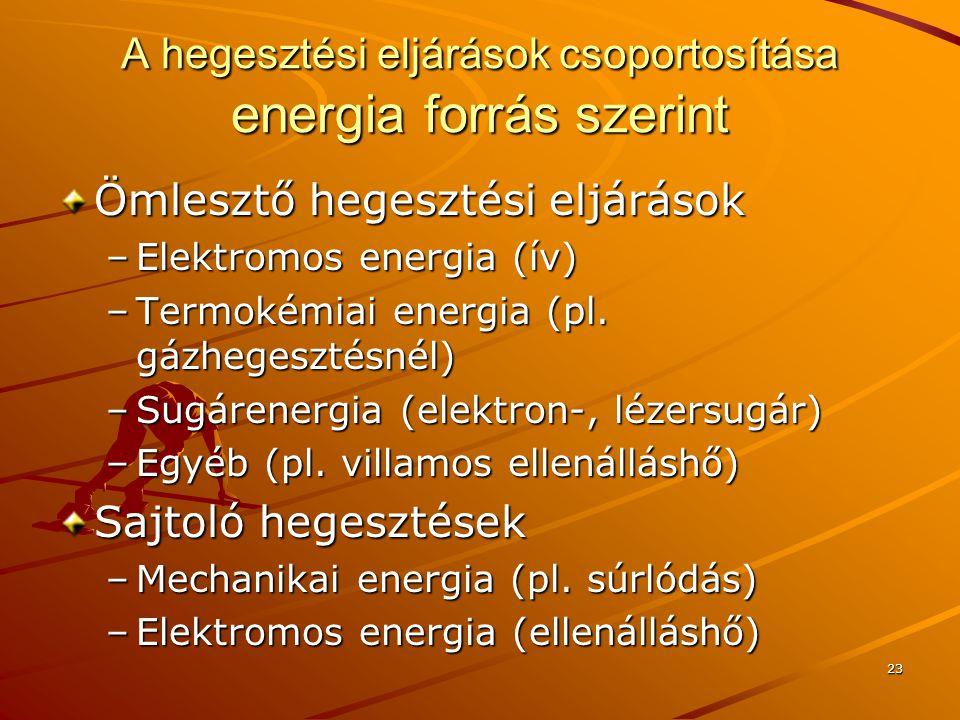 A hegesztési eljárások csoportosítása energia forrás szerint