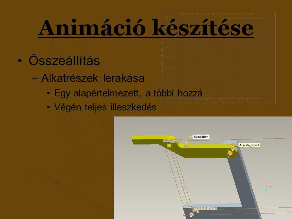 Animáció készítése Összeállítás Alkatrészek lerakása