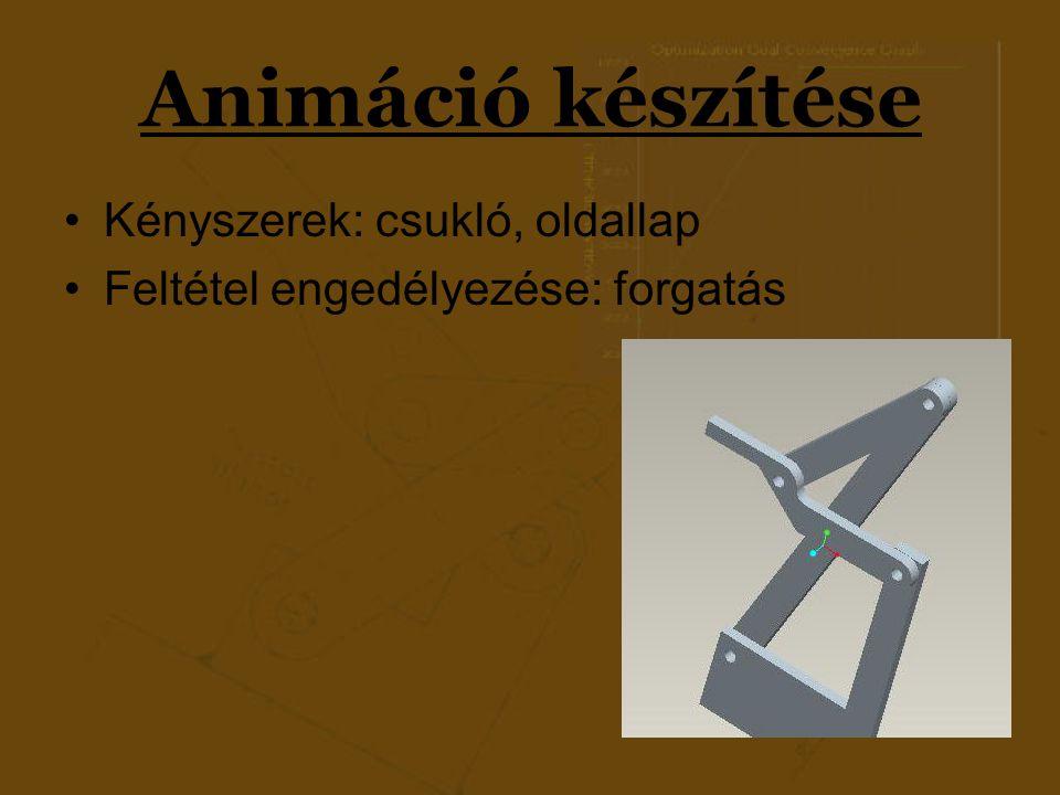 Animáció készítése Kényszerek: csukló, oldallap