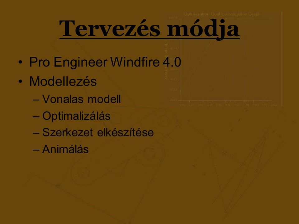 Tervezés módja Pro Engineer Windfire 4.0 Modellezés Vonalas modell