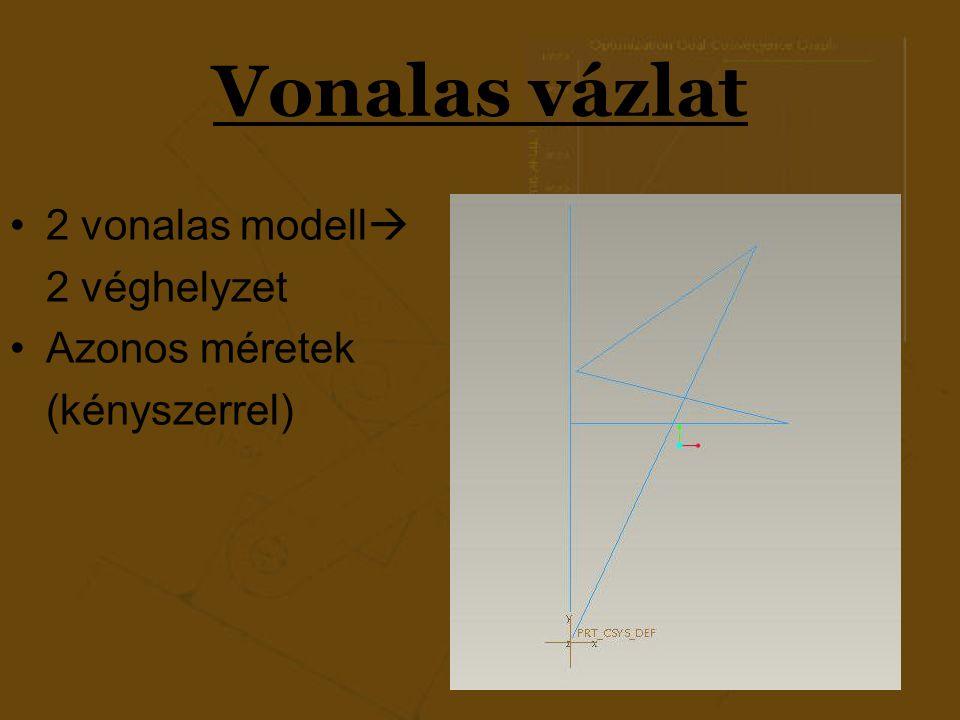 Vonalas vázlat 2 vonalas modell 2 véghelyzet Azonos méretek