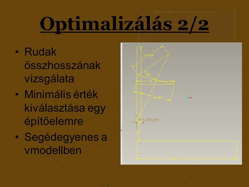 Optimalizálás 2/2 Rudak összhosszának vizsgálata