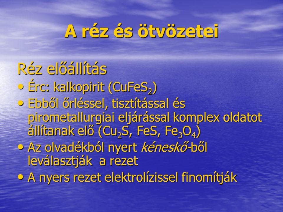 A réz és ötvözetei Réz előállítás Érc: kalkopirit (CuFeS2)