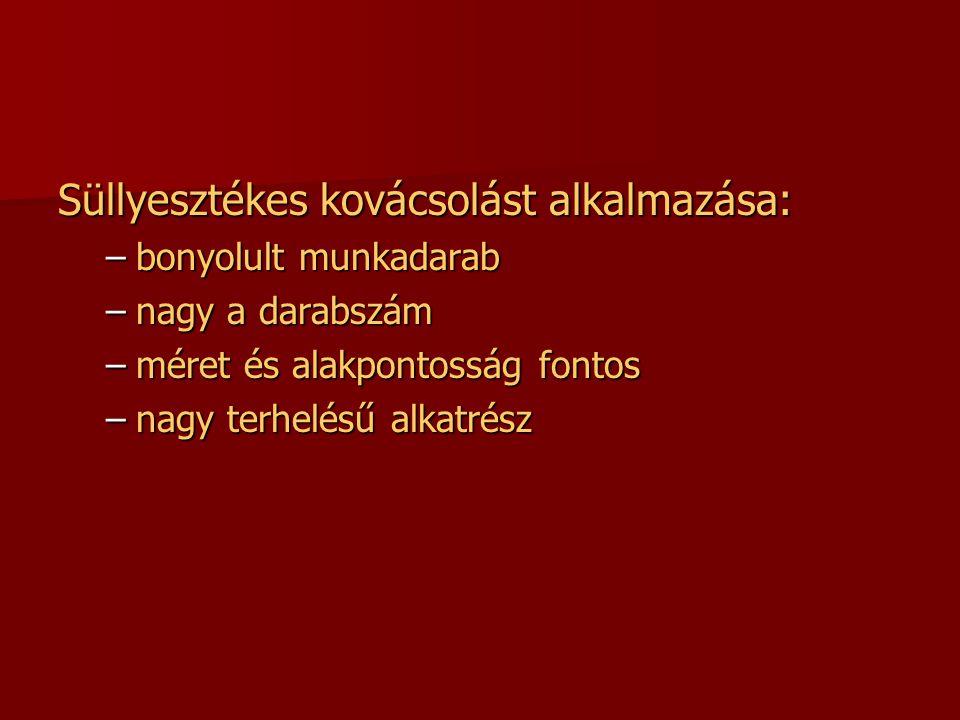 Süllyesztékes kovácsolást alkalmazása: