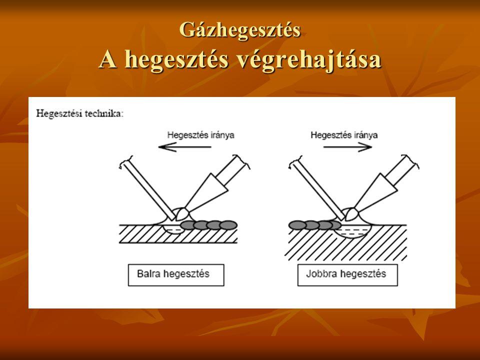 Gázhegesztés A hegesztés végrehajtása