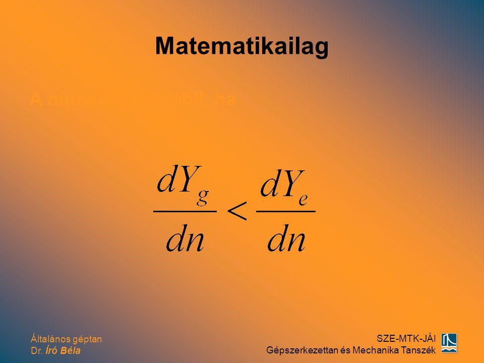 Matematikailag A munkapont stabil, ha
