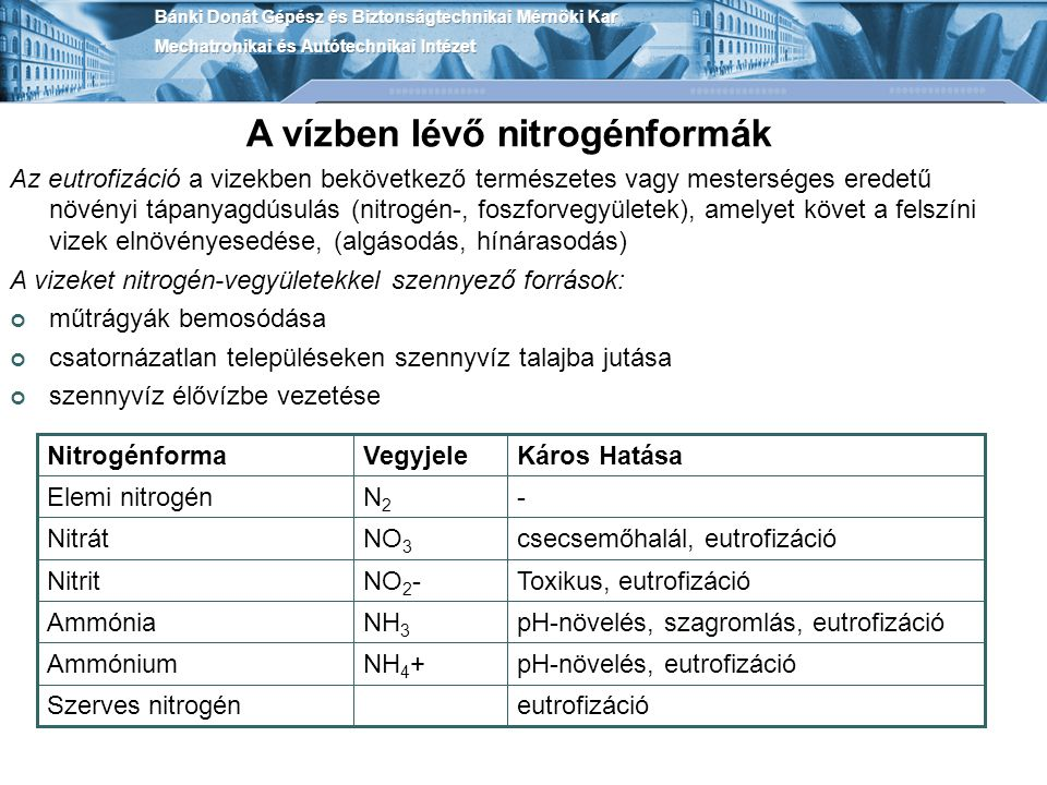 A vízben lévő nitrogénformák