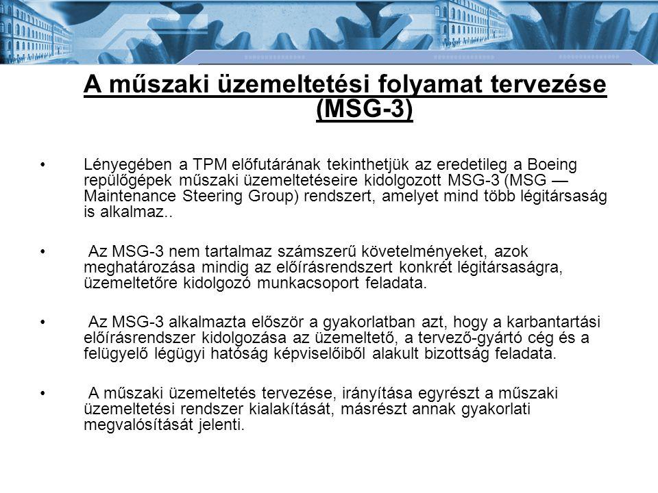 A műszaki üzemeltetési folyamat tervezése (MSG-3)