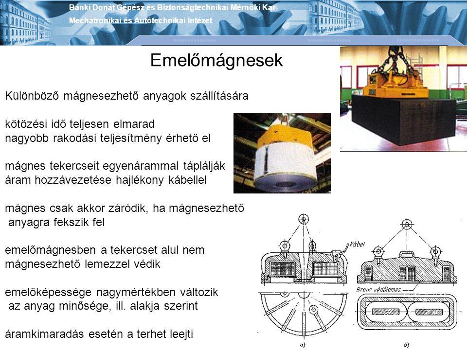 Emelőmágnesek Különböző mágnesezhető anyagok szállítására