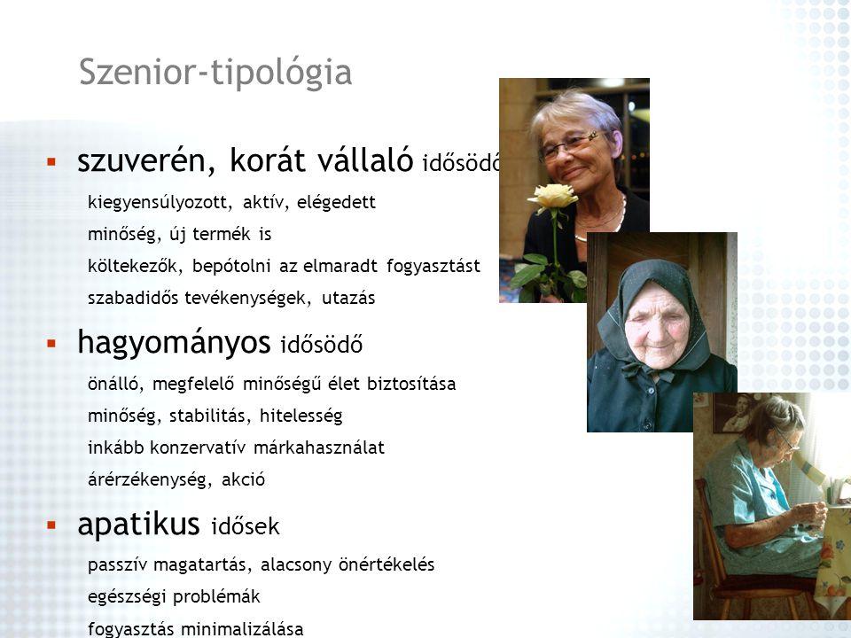 Szenior-tipológia szuverén, korát vállaló idősödő hagyományos idősödő