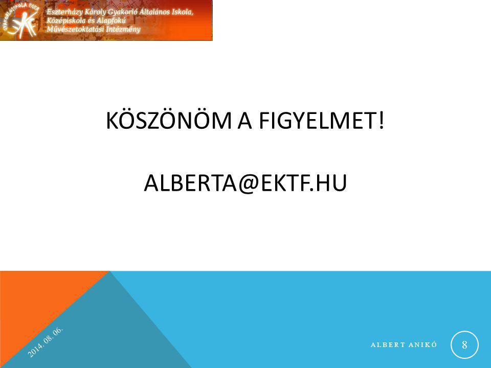 Köszönöm a figyelmet! alberta@ektf.hu