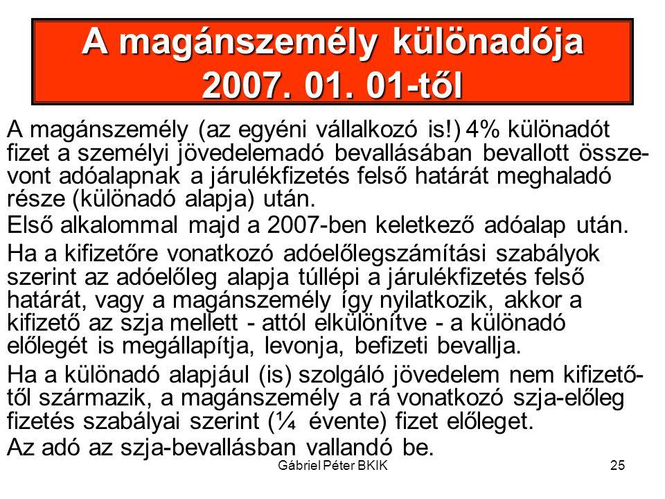 A magánszemély különadója 2007. 01. 01-től