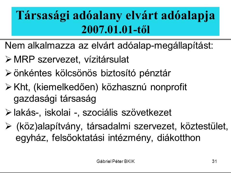 Társasági adóalany elvárt adóalapja 2007.01.01-től