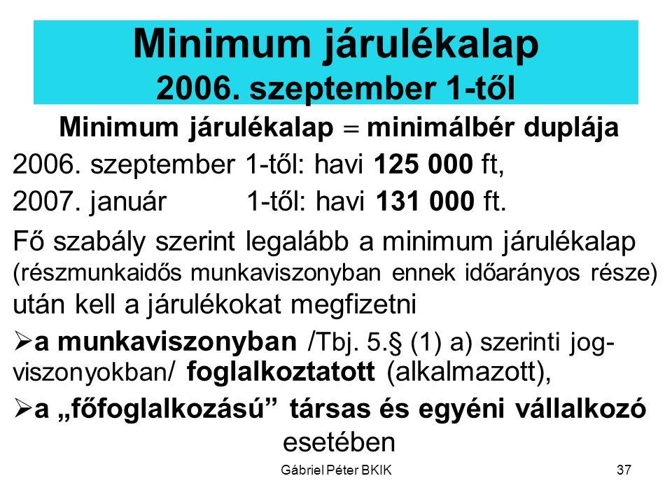 Minimum járulékalap 2006. szeptember 1-től