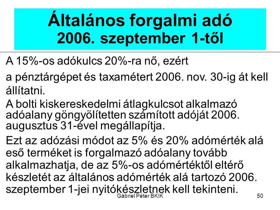 Általános forgalmi adó 2006. szeptember 1-től