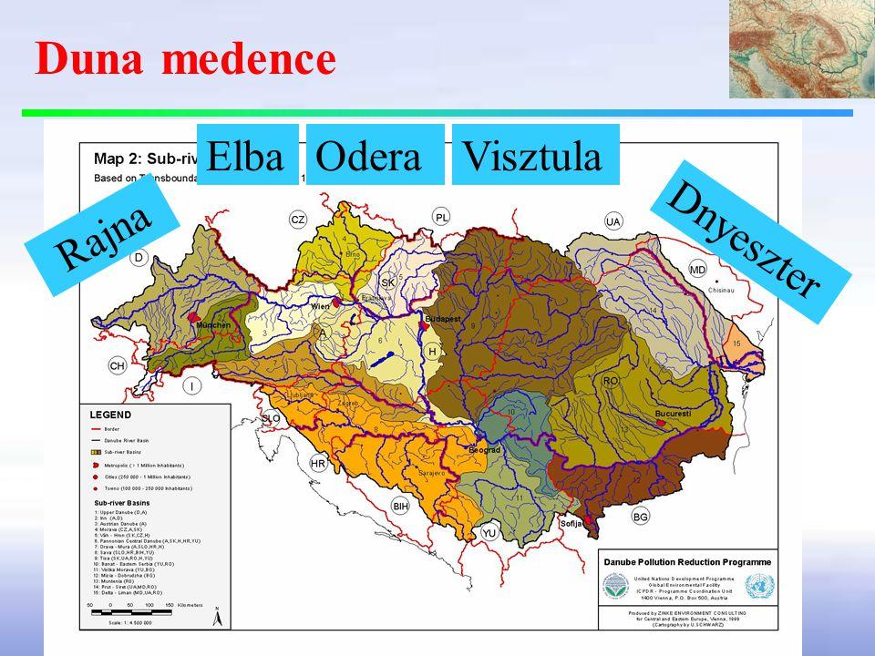 Duna medence Elba Odera Visztula Rajna Dnyeszter